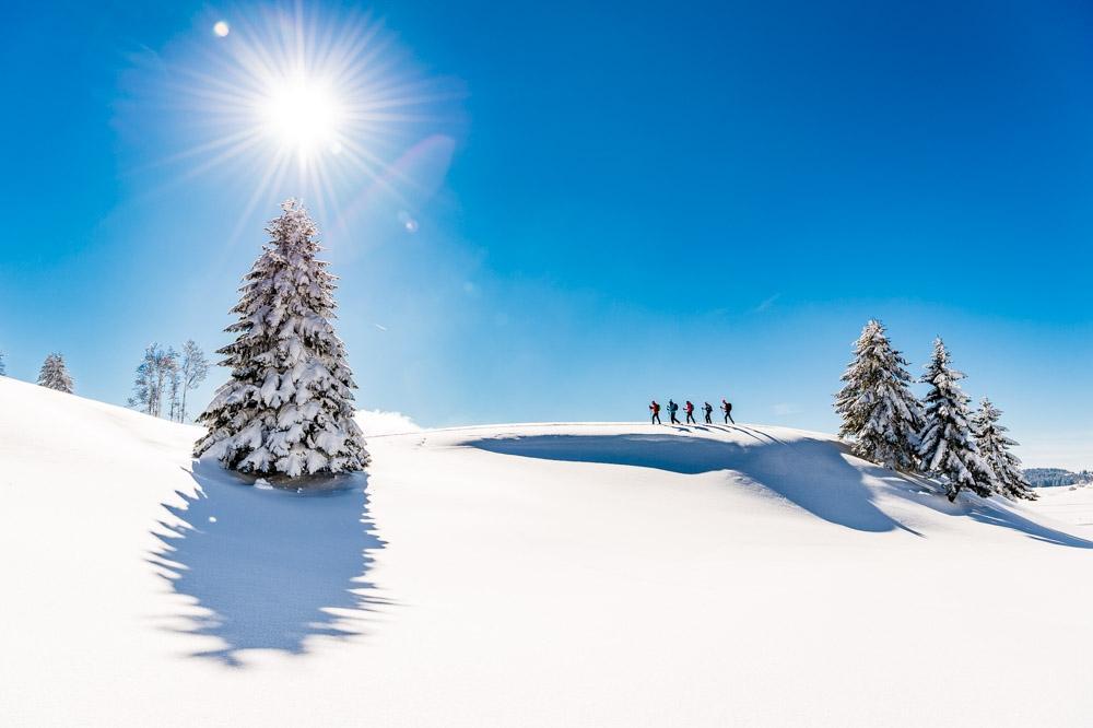 gtj, raquettes, jura, tsl, neige, hiver, soleil