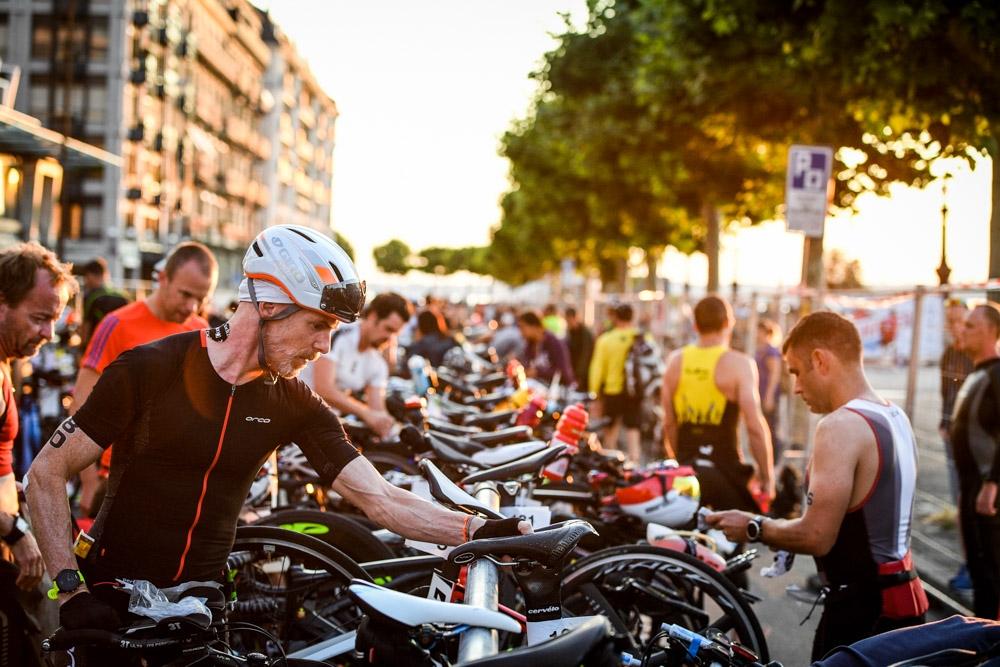 Triathlon de Geneve, sun, soleil, velo, matin, suisse